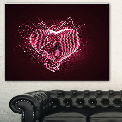 Designart Happy Valentines Day Abstract Canvas ArtPrint
