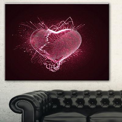 Designart Happy Valentines Day Abstract Canvas ArtPrint - 3 Panels