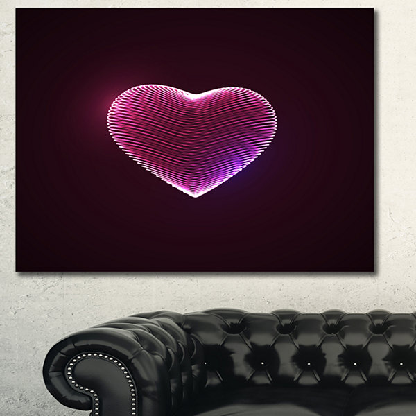 Design Art Happy Valentines Day Contemporary CanvasArt Print - 3 Panels