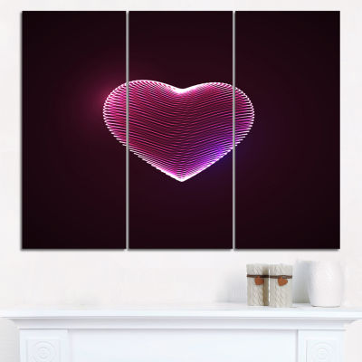 Designart Happy Valentines Day Contemporary CanvasArt Print - 3 Panels