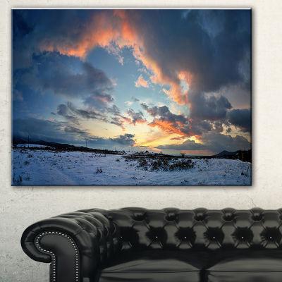 Designart Dark Winter Sky Landscape Photography Canvas Art Print - 3 Panels