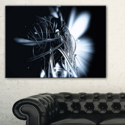 Designart 3D Abstract Art White Floral Abstract Canvas Art Print
