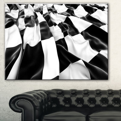 Designart 3D Checkered Flag Abstract Canvas Art Print - 3 Panels