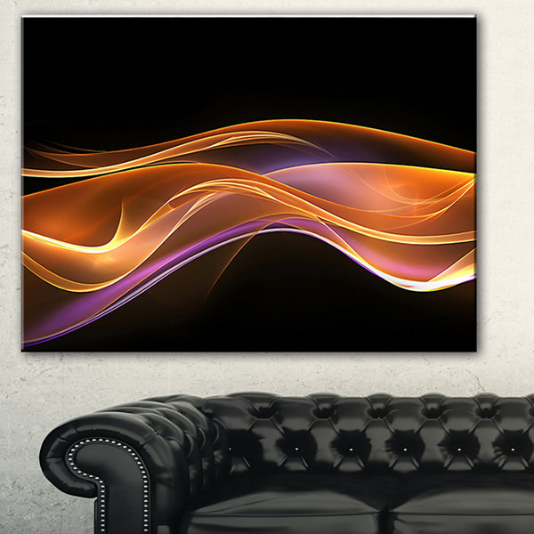 Designart 3D Gold Pink Wave Design Abstract CanvasArt Print