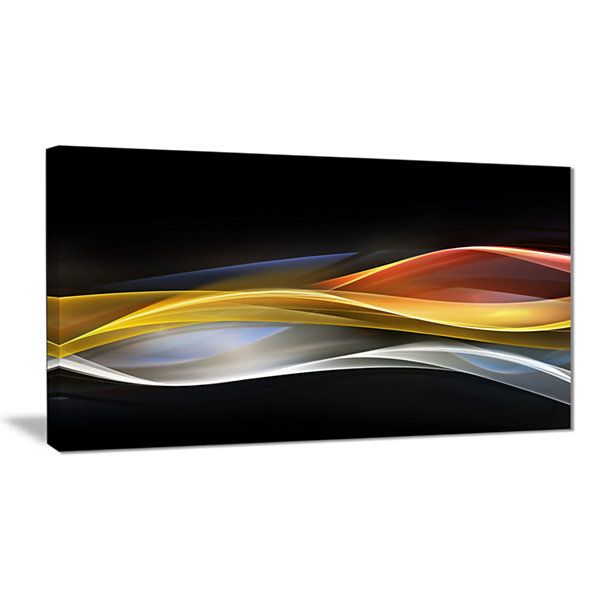Designart 3D Gold Silver Wave Design Abstract Canvas Art Print