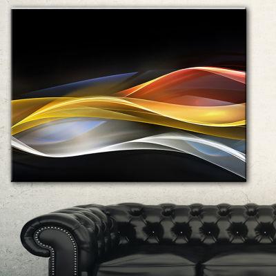 Designart 3D Gold Silver Wave Design Abstract Canvas Art Print - 3 Panels