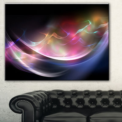 Designart 3D Pink Blue Glowing Light Abstract Canvas Art Print - 3 Panels