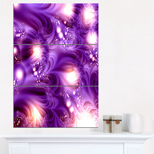 Designart 3D Purple Texture Pattern Abstract Canvas Art Print - 3 Panels