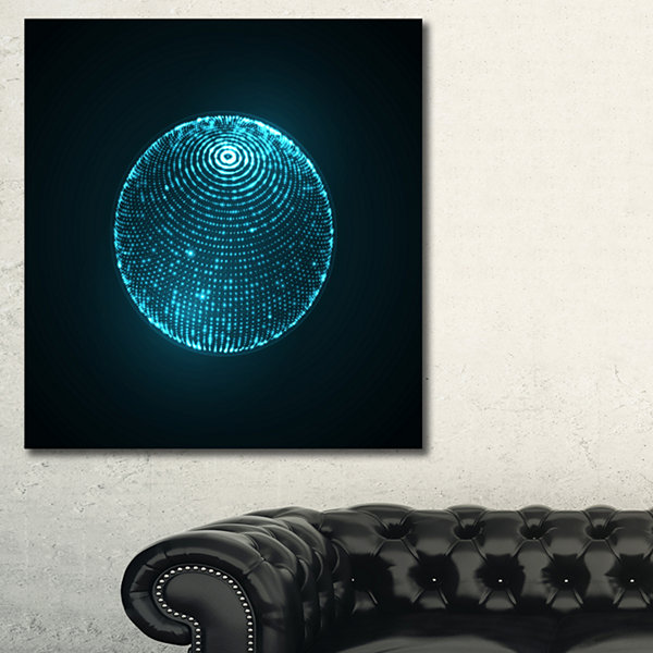 Designart 3D Sphere Glowing Particles SpacescapeCanvas Art Print - 3 Panels