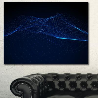 Designart 3D Wave Glowing Particles Spacescape Canvas Art Print - 3 Panels