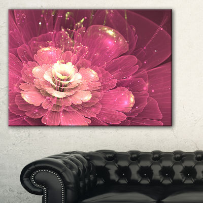 Designart Abstract Fractal Purple Flower Floral Art Canvas Print - 3 Panels