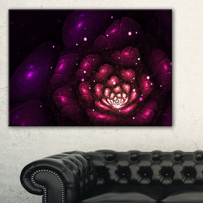 Designart Abstract Fractal Violet Flower Floral Art Canvas Print - 3 Panels