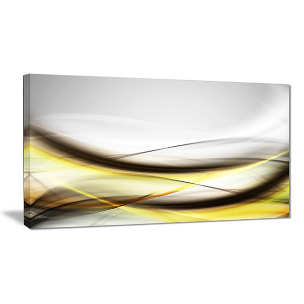 Design Art Abstract Golden Waves Abstract Canvas Art Print