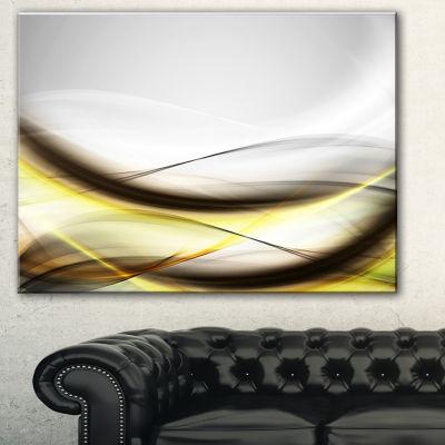Designart Abstract Golden Waves Abstract Canvas Art Print - 3 Panels