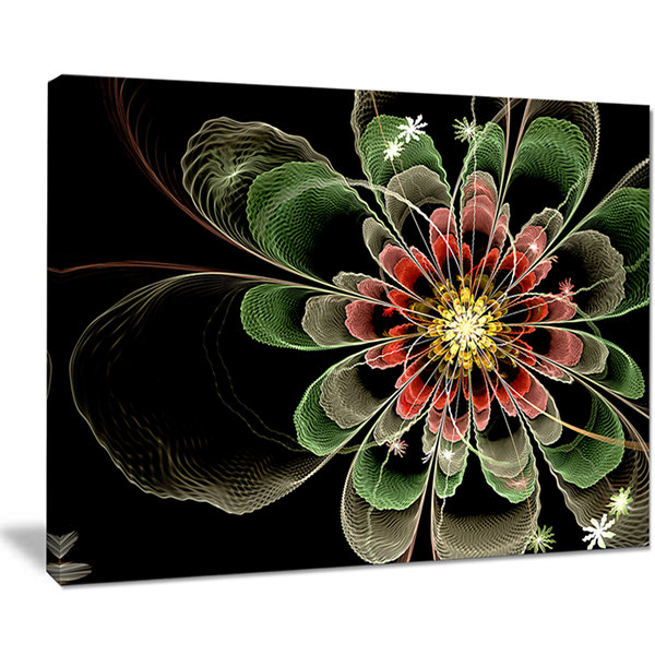 Designart Abstract Green Fractal Flower Floral ArtCanvas Print