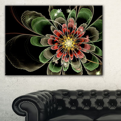 Designart Abstract Green Fractal Flower Floral ArtCanvas Print - 3 Panels