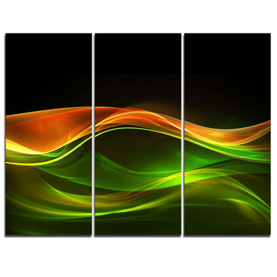 Designart Abstract Green Yellow In Black AbstractCanvas Art Print - 3 Panels