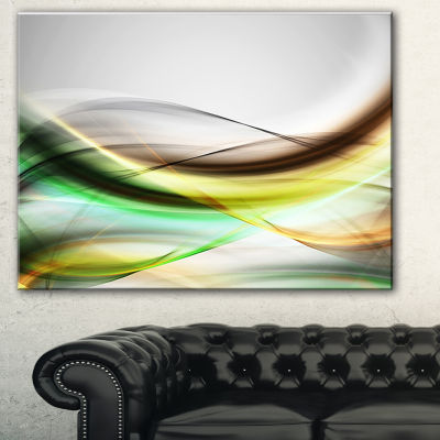 Designart Abstract Green Yellow Waves Abstract Canvas Art Print