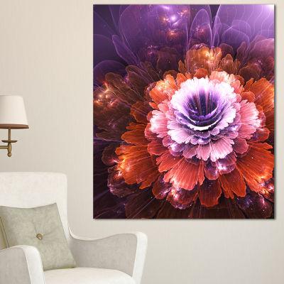 Designart Abstract Pink Fractal Flower Floral ArtCanvas Print - 3 Panels