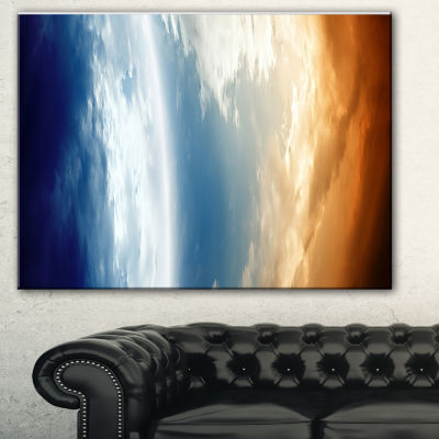 Designart Abstract Planet In Space Spacescape Canvas Art Print - 3 Panels