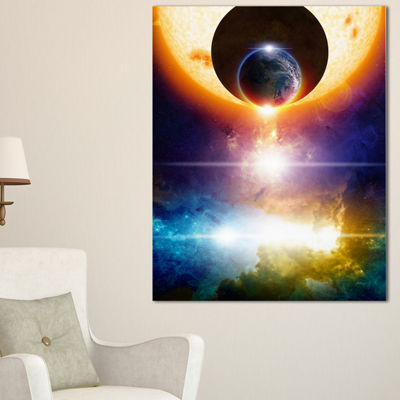 Designart Abstract Space Background Abstract Canvas Art Print - 3 Panels