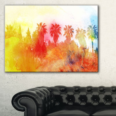 Designart Abstract Tropical Landscape Abstract Canvas Painting - 3 Panels