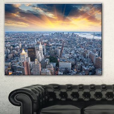 Design Art Aerial View Of Nyc Skyscrapers CityscapePhoto Canvas Print