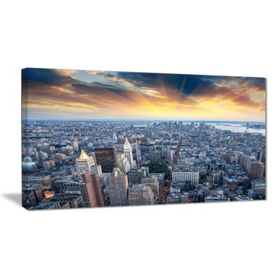 Designart Aerial View Of Nyc Skyscrapers CityscapePhoto Canvas Print