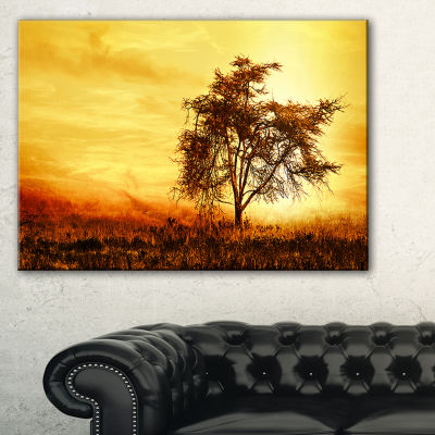 Designart African Tree Silhouette Landscape PhotoCanvas Art Print