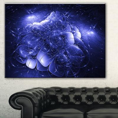 Designart Alien Mystical Flower Blue Floral Art Canvas Print - 3 Panels