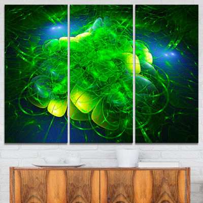 Designart Alien Mystical Flower Green Floral ArtCanvas Print - 3 Panels