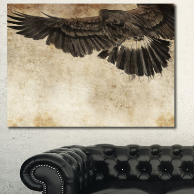 Designart American Eagle Sketch Animal Canvas ArtPrint