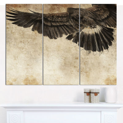Designart American Eagle Sketch Animal Canvas ArtPrint - 3 Panels