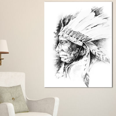 Designart American Indian Head Tattoo Black And White Abstract Print On Canvas