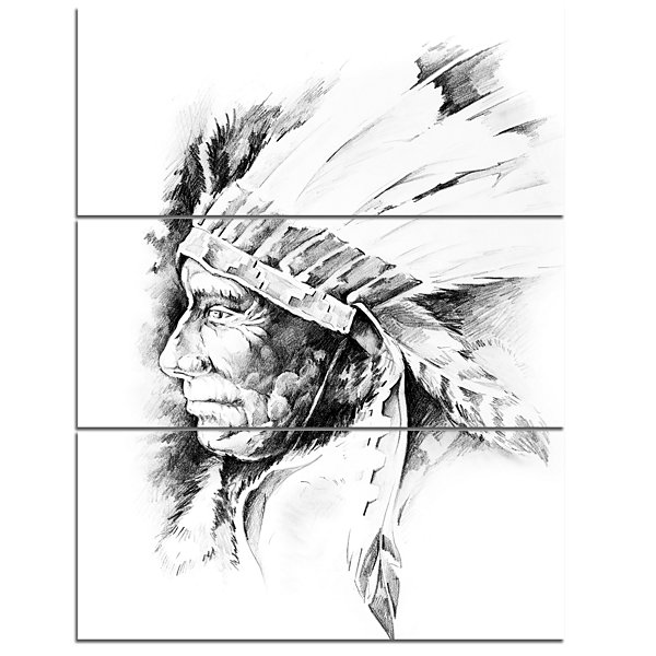 Designart American Indian Head Tattoo Black And White Abstract Print On Canvas - 3 Panels