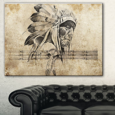 Designart American Indian Warrior Tattoo Sketch Abstract Print On Canvas - 3 Panels
