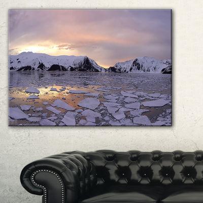 Designart Antarctic Summer Sunset Seascape CanvasArt Print - 3 Panels