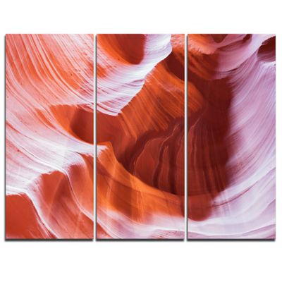 Designart Antelope Canyon Brown Wall Landscape Photography Canvas Print - 3 Panels