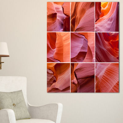 Designart Antelope Canyon Collage Landscape PhotoCanvas Art Print - 3 Panels