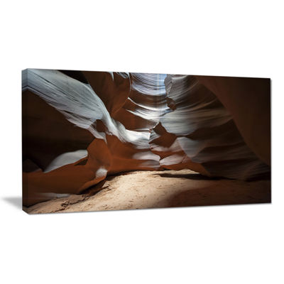 Designart Antelope Canyon Dark Inside Landscape Photo Canvas Art Print