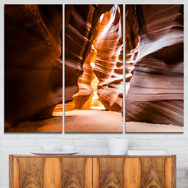 Designart Antelope Canyon In Sunshine Landscape Photo Canvas Art Print - 3 Panels