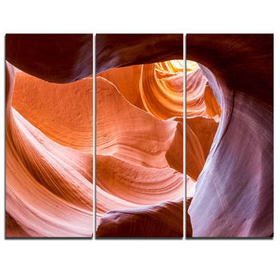 Designart Antelope Canyon Inside View Landscape Photography Canvas Print - 3 Panels