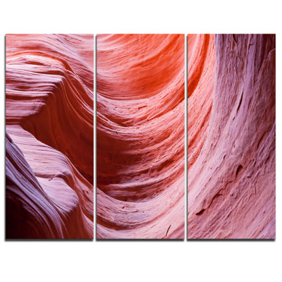 Designart Antelope Canyon Purple Wall Landscape Photography Canvas Print - 3 Panels