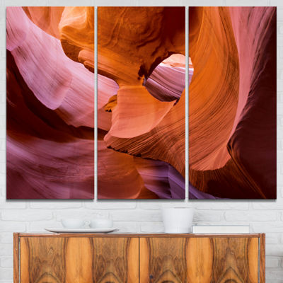 Designart Antelope Canyon Sandstone Waves Landscape Photography Canvas Print - 3 Panels