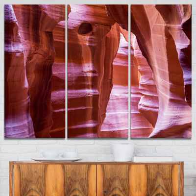 Designart Antelope Canyon Structures Landscape Photography Canvas Print - 3 Panels