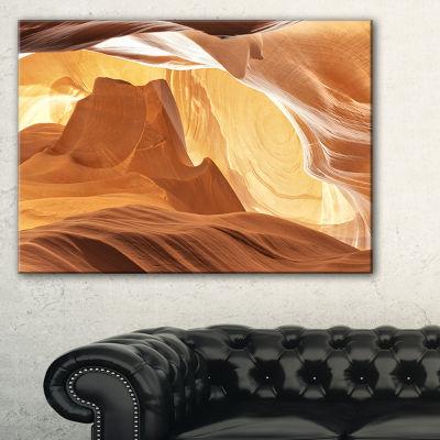 Designart Antelope Canyon With Light Rays Landscape Photography Canvas Print - 3 Panels