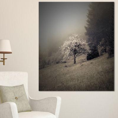 Designart Apple Tree Vintage Style Landscape PhotoCanvas Art Print