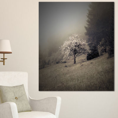 Designart Apple Tree Vintage Style Landscape PhotoCanvas Art Print - 3 Panels