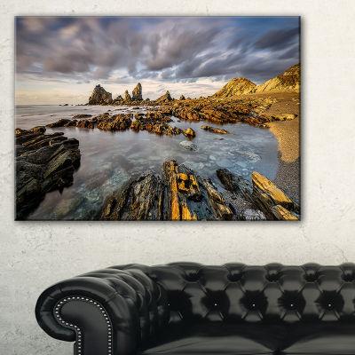 Designart Atlantic Coast In Spain Seashore Photography Canvas Print - 3 Panels