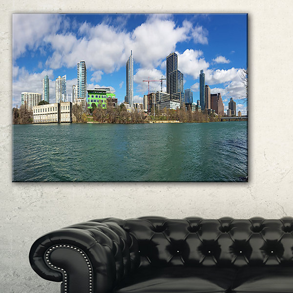 Designart Austin Skyline On Sunny Day Cityscape Photo Canvas Print - 3 Panels